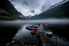 Foggy lake. Fog is everywhere on morning near the Norwegians lake Stock Images