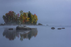 Foggy Lake - Island with Colorful Trees - Autumn / Fall - Vermont Royalty Free Stock Image