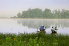 Foggy Lake and Jet Skis Stock Photography
