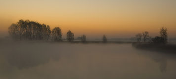 Foggy lake. In oostburg netherlands Stock Photography
