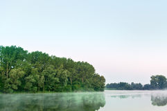 Foggy lake reflection at dawn Stock Image