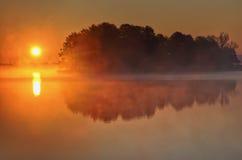 Foggy lake Royalty Free Stock Photo