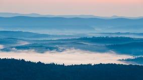 Foggy landscape in Bieszczady Mountains stock photo
