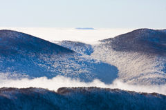 Foggy landscape, Bieszczady Mountains Stock Image