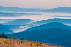 Foggy landscape in Bieszczady Mountains. Poland, Europe Stock Photo
