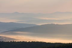 Foggy landscape in Bieszczady Mountains, Poland, Europe stock images