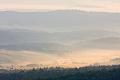 Foggy landscape in Bieszczady Mountains Stock Photo