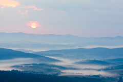Foggy landscape in Bieszczady Mountains Stock Image