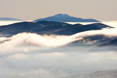 Foggy landscape in Bieszczady Mountains Royalty Free Stock Image