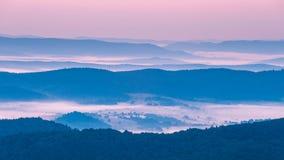 Foggy landscape in Bieszczady Mountains. Poland, Europe Royalty Free Stock Photo