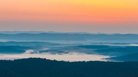 Foggy landscape in Bieszczady Mountains. Poland, Europe Stock Images