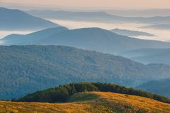 Foggy landscape in Bieszczady Mountains. Poland, Europe Royalty Free Stock Photography