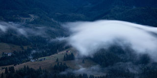 Foggy landscape of Carpathian mountains Royalty Free Stock Photos