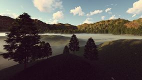 Foggy landscape at the daytime Stock Photos