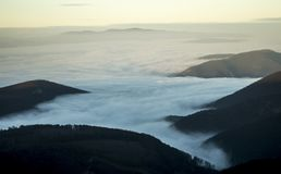 Foggy landscape in nature. Misty land in nature while hiking Royalty Free Stock Images