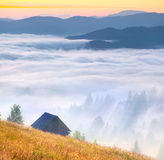 Foggy landscape with an old barn Royalty Free Stock Photo