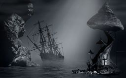 Foggy landscape and shipwreck Royalty Free Stock Photo