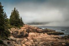 Foggy Maine Coastline. Acadia National Park, Maine, USA stock photo