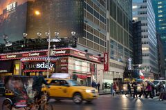 Foggy Manhattan - Night traffic nearby Times square, New York, Midtown, Manhattan. royalty free stock photography