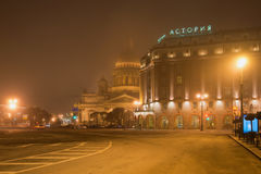 Foggy March night on St. Isaac`s square. Saint Petersburg Stock Image