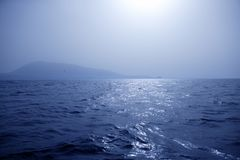 Foggy Mediterranean morning on the sea Stock Images