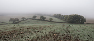 Foggy misty Autumn morning landscape in British countryside Stock Photos