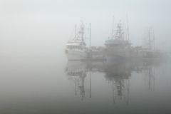 Foggy Moorage, Steveston Harbor Royalty Free Stock Photo