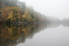 Foggy Morning. Fog settled over the water at the lake stock photos
