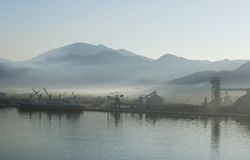 Foggy Morning. In the port of Manzanillo, Mexico stock photo