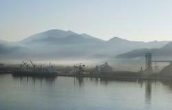 Foggy Morning. In the port of Manzanillo, Mexico Stock Photo