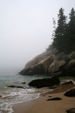 Foggy Morning. Fog and coastline at Acadia National Park Royalty Free Stock Photography