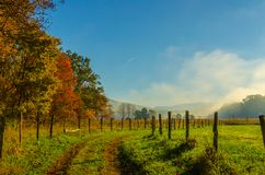 Foggy Morning along Cades Cove Lane stock photo