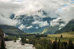 Foggy morning in the Altai Mountains Stock Images