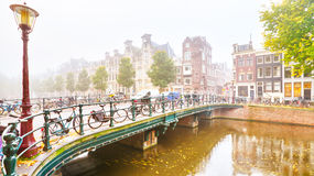 Foggy morning in Amsterdam stock photography