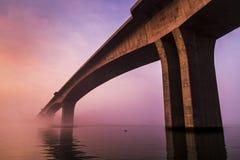 Foggy morning bridge Royalty Free Stock Images