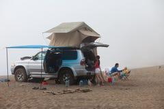 Foggy morning. Camping life Stock Photos