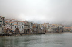 Foggy morning. Cefalu, Sicilia, Italy Stock Image