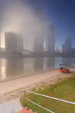 Foggy morning in the centre of big modern Australian city Royalty Free Stock Photo