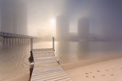 Foggy morning in the centre of big modern Australian city Royalty Free Stock Image