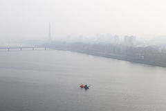 Foggy morning, Dawn on the River Taedong, Pyongyang, Korea. Stock Photos