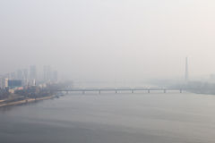 Foggy morning, Dawn on the River Taedong, Pyongyang, Korea. Foggy morning, Dawn on the River Taedong, Pyongyang, Korea Stock Images