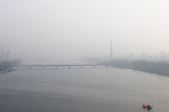 Foggy morning, Dawn on the River Taedong, Pyongyang, Korea. Royalty Free Stock Image