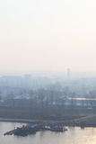 Foggy morning, Dawn on the River Taedong, Pyongyang, Korea. Royalty Free Stock Images