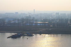 Foggy morning, Dawn on the River Taedong, Pyongyang, Korea. Stock Images