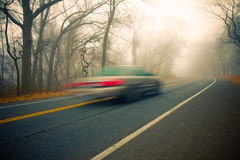 Foggy Morning Drive Royalty Free Stock Images