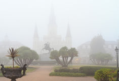 Foggy Morning on Jackson Square Royalty Free Stock Image