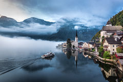 Foggy morning at the lake in the Alps Royalty Free Stock Images