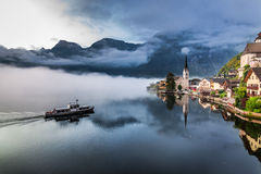 Foggy morning at the lake in the Alps Stock Photography