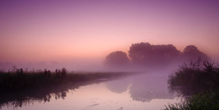 Foggy morning landscape with beautiful colors Royalty Free Stock Photo