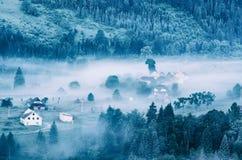 Foggy morning landscape stock photos